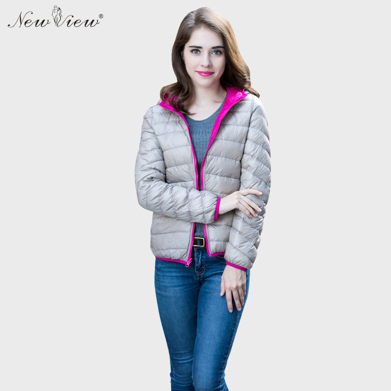 2017 NewView Winter Coat Woman Hoodies Slim Warm Parka Patchwork Color Two Side Wearable Casacos White Duck Down Jacket Women