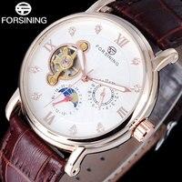 Women Watches 2016 FORSINING Top Sale Luxury Watches Women Automatic Mechanical Moon Phase Rhinestone Tourbillion Wristwatches