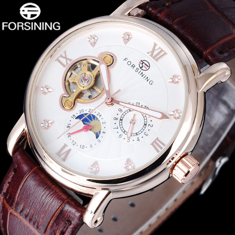 Men Watches 2016 FORSINING auto Mechanical Luxury brand rose gold number clock moon phase display tourbillion