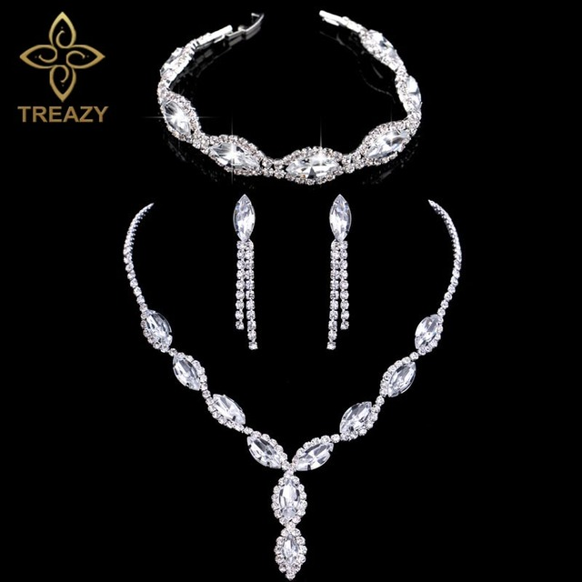 Sparkling Silver Color Rhinestone Crystal Wedding Jewelry Set Leaves Choker Necklace Earrings Bracelet Bridal