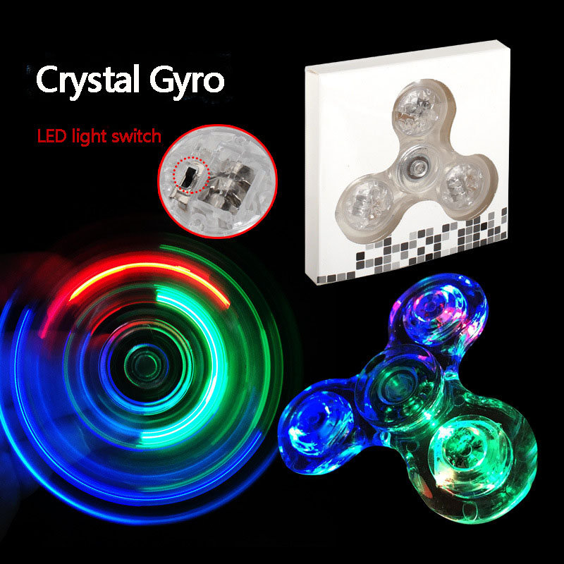 Transparent Shine Crystal Fingertip Gyro LED Lamp Fingertip Gyro Spinning Top Fidget Spinner EDC Hand Spinner Finger Spiner A238
