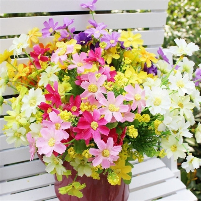 New Arrivals Artificial Bunch Fake Silk Daisy Flower Bouquet Home Floral Wedding Party Home Garden Decor Hot Selling