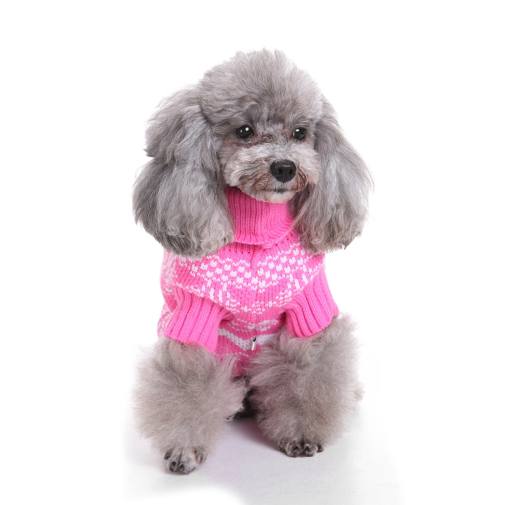 2017 New Fashion Pink Sweety Dog Clothes Puppy Sweater Winter Warm Knit Clothing Apparel ...