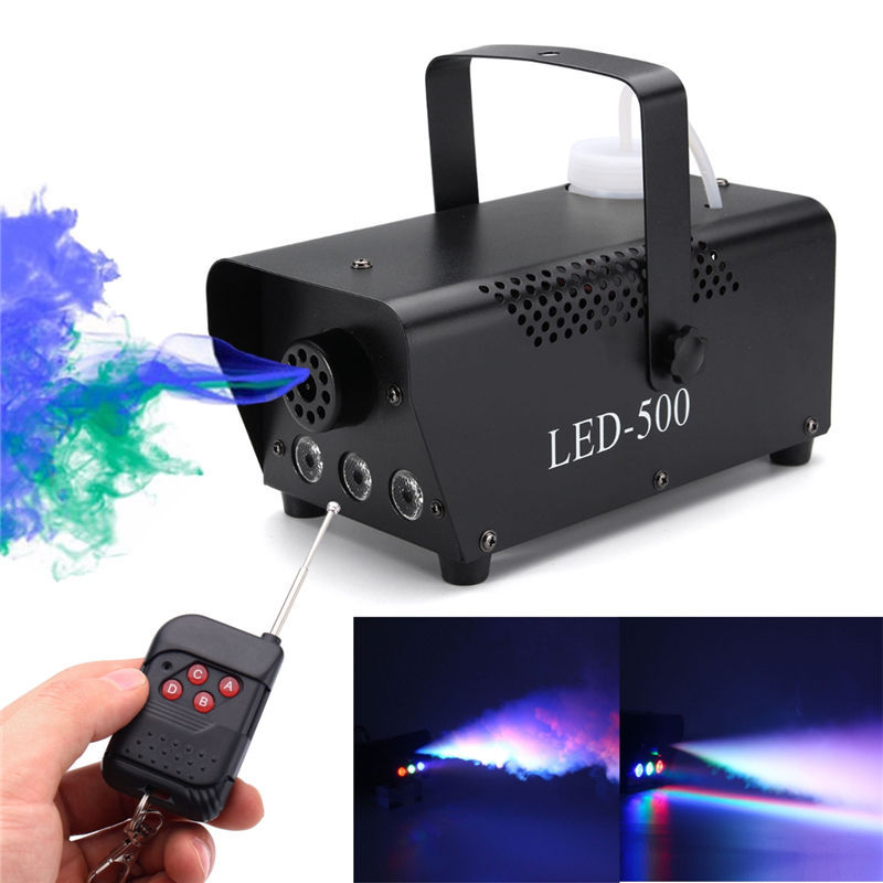 Dyue wireless control LED 500W Fog Smoke Machine Remote RGB color ejector DJ Party Stage Light Thrower