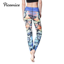Picemice Activewear For Women High Waisted Summer Outfits Fitness Legging Women's Yoga Pants Blue Butterfly Printing Leggings active stitching high waisted yoga leggings in blue