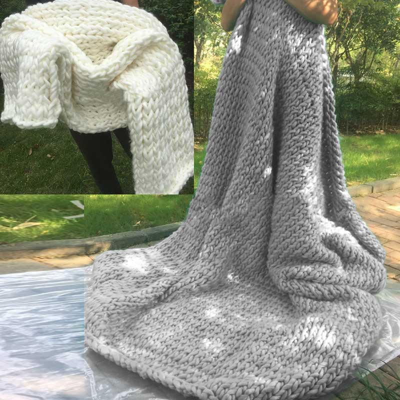 Chunky Hand Knitted Blanket Home Decor Throw Blankets Wedding Anniversary Gift Photography Props Hg99 China