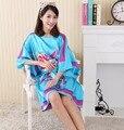 El Tamaño más de Moda Femenina Albornoz Bata Diseño Impreso Mujeres Rayón Camisón Camisón de Verano Pijama Mujer Zh889H