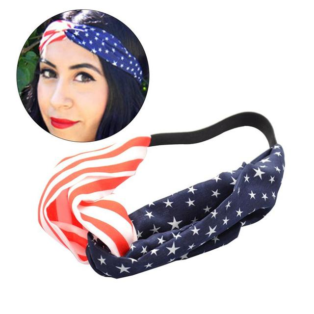 Women Headbands American Stars And Stripes USA Flag UK USA Flag Elastic  Bandana Hair Band Flag Headband Turban Bandana Head Wrap bc5297c9c82