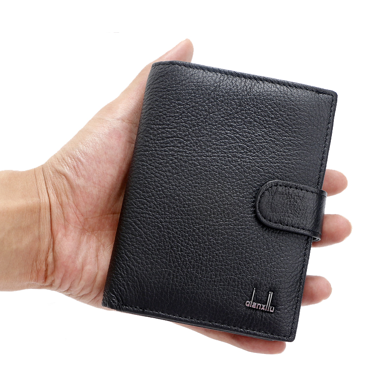 Men Wallet Genuine Leather Card Coin Holder Hot Sale 2017 Black Thin Documents On Cover Purse Money Male Portomonee Casual men wallet genuine leather women card coin holder money clip hot sale short casual high quality photo dollar price male purse