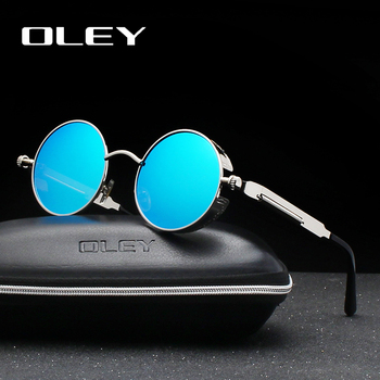 b6f5183a2 OLEY de la marca de Metal redondo Steampunk gafas de sol hombres mujeres de  moda Color película punk gafas de sol de conducción Anti-deslumbramiento  gafas ...