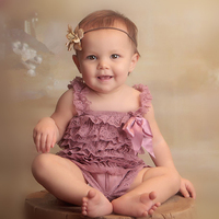 Vintage Baby Girls Rompers Rose Pink Lace Petti Rompers Cake Smash Mauve Next Birthday Outfit Jumpsuit