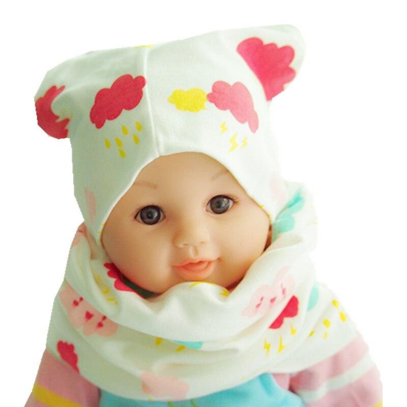 New Fashion Children Hat Scarf Autumn Winter Crochet Baby Hats Girls Boys Cap Beanies Cotton Kids Collar under 52 cm head sets