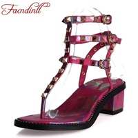 FACNDINLL Shoes 2018 Summer Fashion Rivet Gladiator Sandals Printing Square Heel Shoes Open Toe Sandals Woman