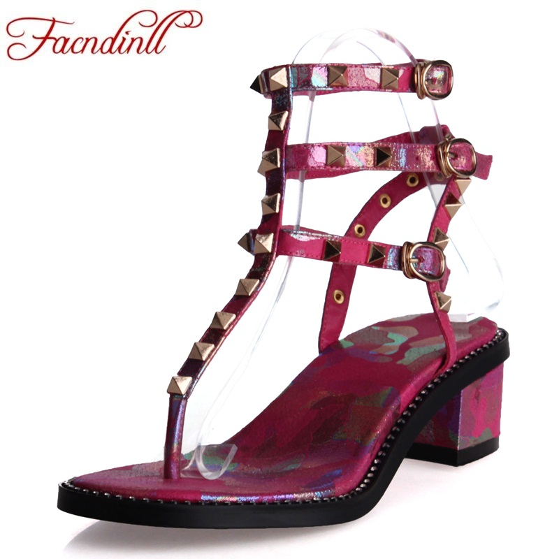 FACNDINLL shoes 2018 summer fashion Rivet gladiator sandals printing square heel shoes open toe sandals woman casual date shoes