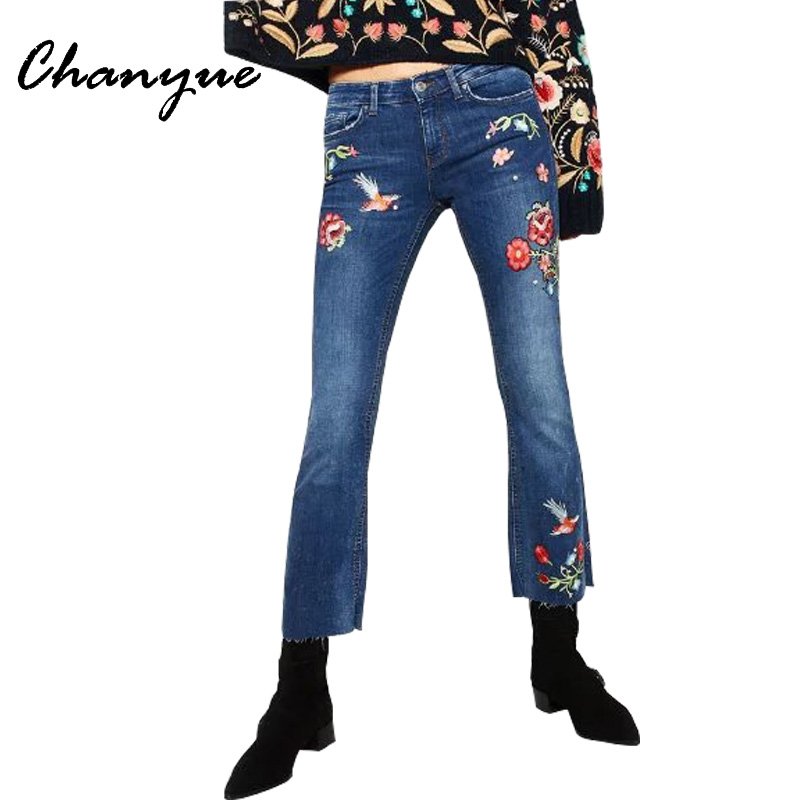 Chanyue Floral Embroidery Jeans Women Spring Zipper Flared Denim Pants Female Fashion Pocket Blue Trousers