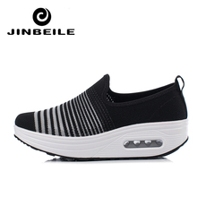 Women Breathable Fly Wire Slimming Shoes 4.5 CM Height Increasing Slip On Rocking Toning Sports Fitness Sneakers Platform