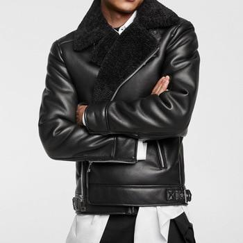 2018 WARM Winter MANS BLACK Faux Fur DOUBLE-SIDED BIKER JACKET Faux Fur shearling collar long sleeves Zipped Pocket zip up leather jacket