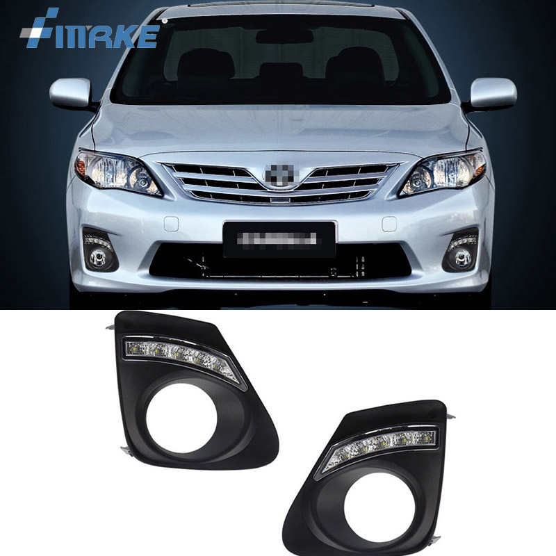 все цены на  smRKE For Toyota Corolla 2011-2013 2pcs LED DRL Daytime Running Lights with Yellow Turning Signal  онлайн