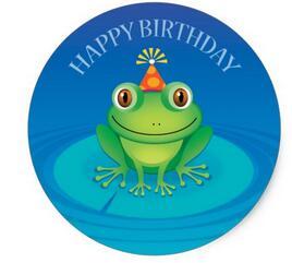 1 5 Inch Gelukkige Verjaardag Kikker Sticker In 1 5 Inch Gelukkige