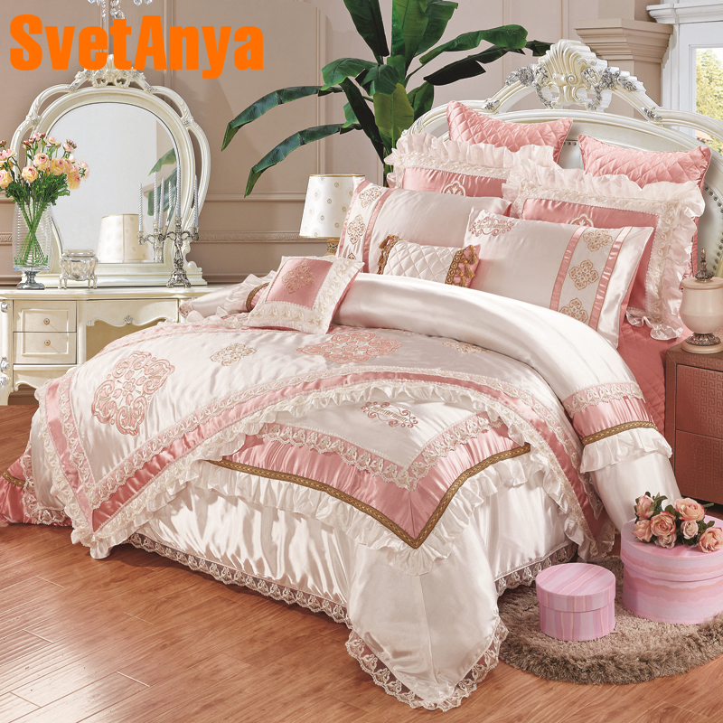 luxury european style 11pcs bedding bedspread linens high end embroidered silk cotton fabric. Black Bedroom Furniture Sets. Home Design Ideas