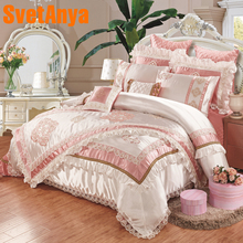 Luxury European style 11pcs bedding bedspread linens high end embroidered silk/cotton fabric King Size duvet cover set bed flag bedspread ethel silk mediterranean style size 180 220 cm faux silk 100% n a