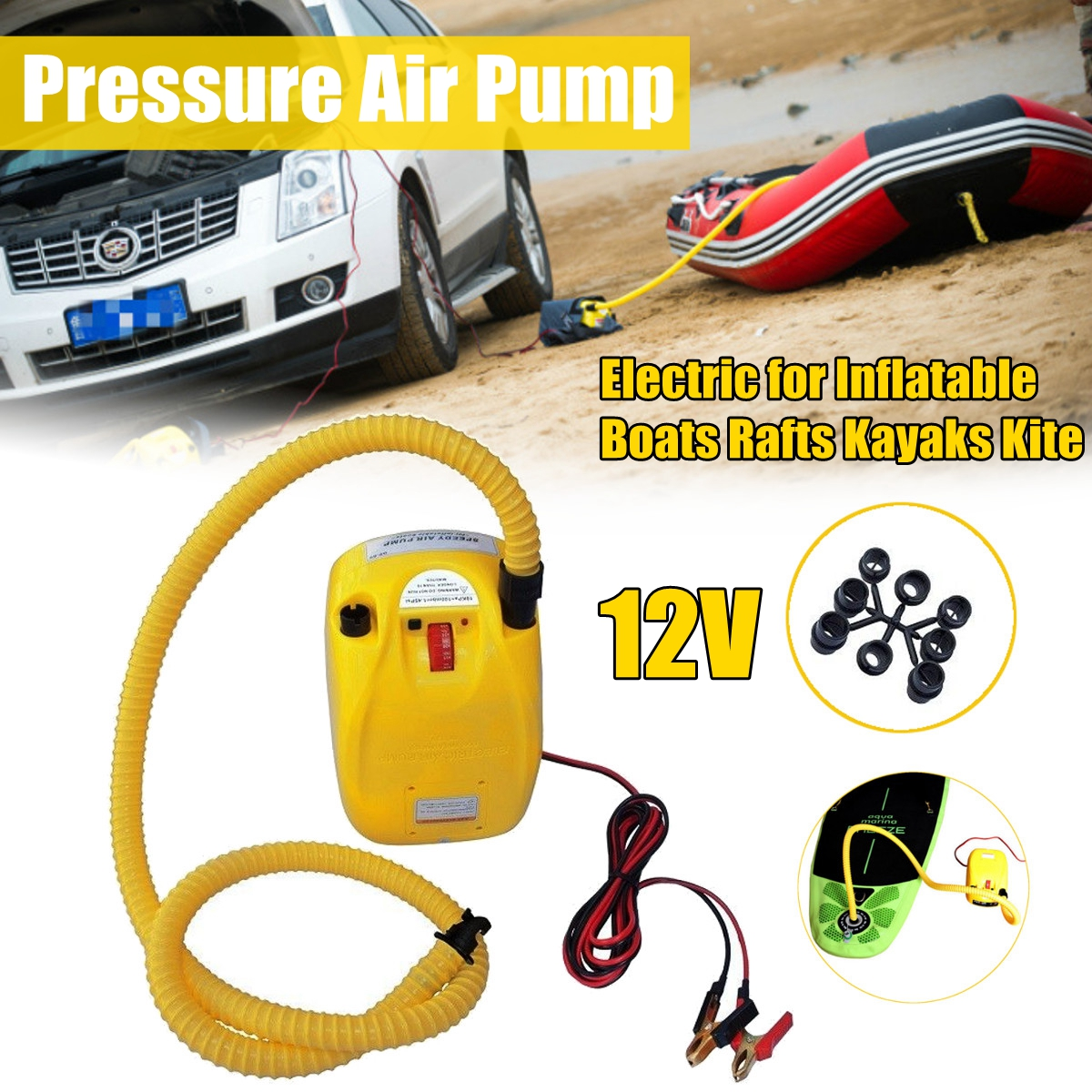 high pressure DC 12V electric air pump for inflatable boat dinghy raft sup surf board stand up paddle shoulder bag carry bag for inflatable boat kayak sup board stand up paddle surfing board pump oar dinghy raft surf board a05011