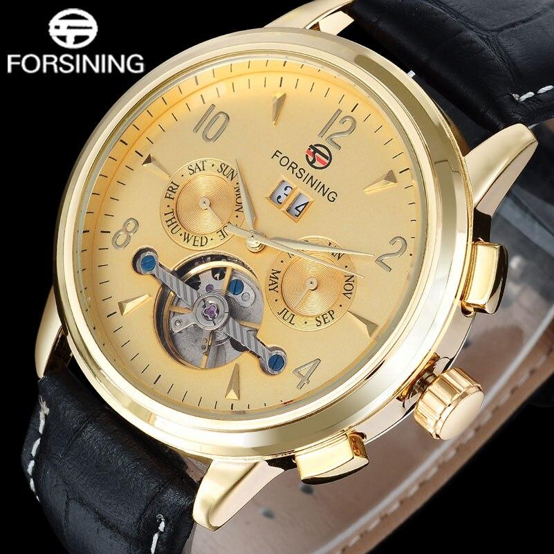 FORSINING brand men fashion sport mechanical tourbillion watches luxury men s automatic skeleton gold watches relogio