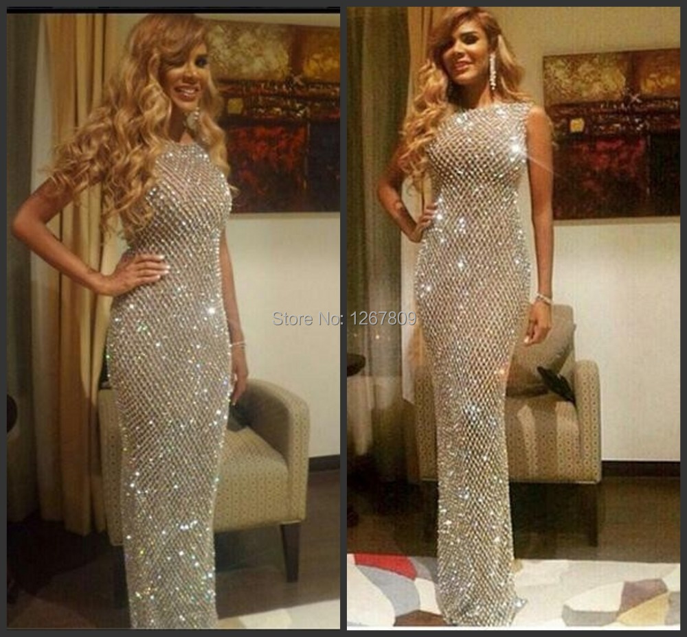 2020 New Custom Made Full Crystal Beading Sheath Celebrity Dresses Wome Evening Gown(China)