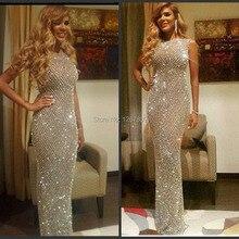 Новые изготовленные на заказ платья знаменитостей с кристаллами и бисером женское вечернее платье