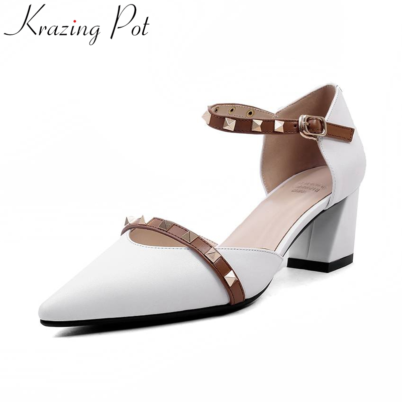 Krazing Pot brand summer shoe pointed toe ankle straps high heels women pumps rivets shallow party wedding office lady shoes L35 krazing pot new genuine leather peep toe ankle straps rivets fashion women sandals women square high heels summer lady shoes l20