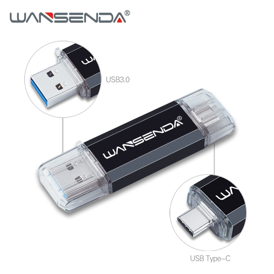 WANSENDA TYPE-C USB3.0 USB Flash Drive Pen Drive For Type-c/PC 512GB 256GB 128GB 64GB 32GB 16GB External Storage 2 In 1 Pendrive