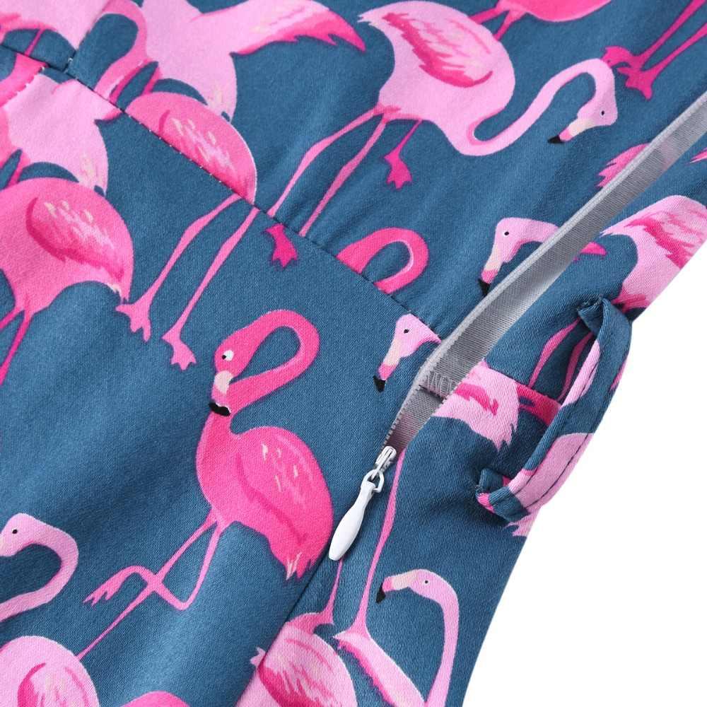 Фламинго Женская туника-платье зима Рождество 2019 короткий рукав отложной воротник 50S Pinup деловые повседневные качели платья