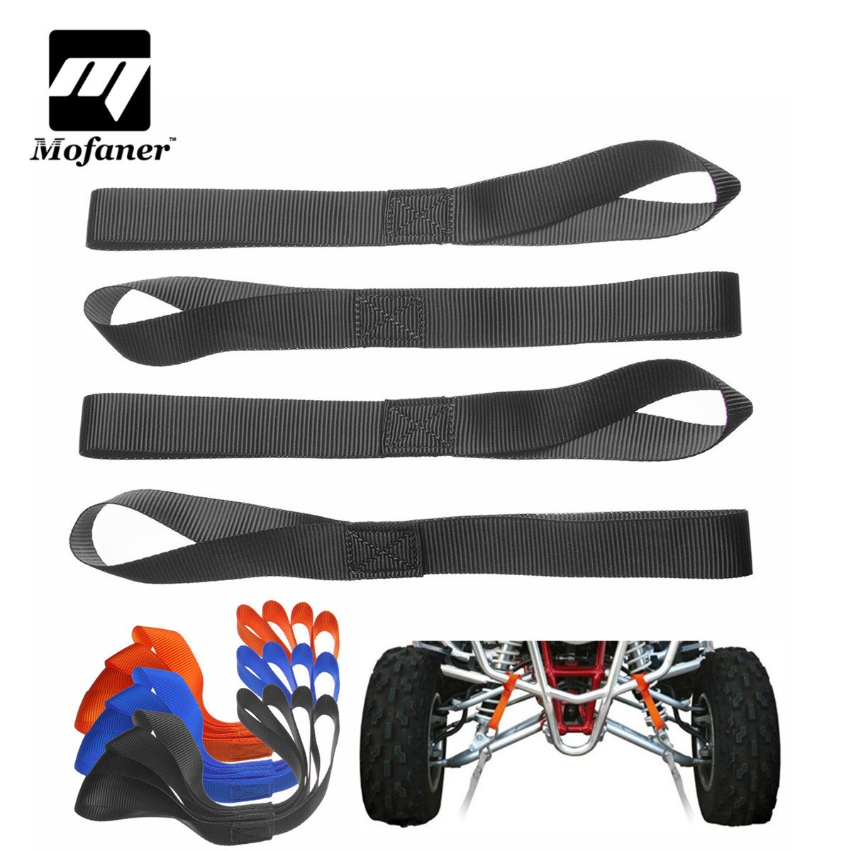 Mofaner 4 Pieces Ratchet Strap Tie Down Straps Soft Securing Loop Extension Tie For ATV Dirt Bike ratchet tie down 5mx25mm metal buckle ratchet tie down strap 10m length