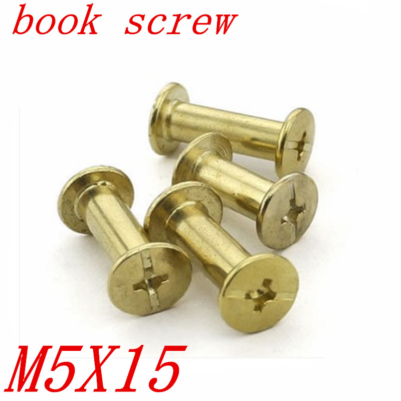 50pcslot M5*15 chicago screw brass plated Account Books Screw,Books Butt Screw, Photo album screw
