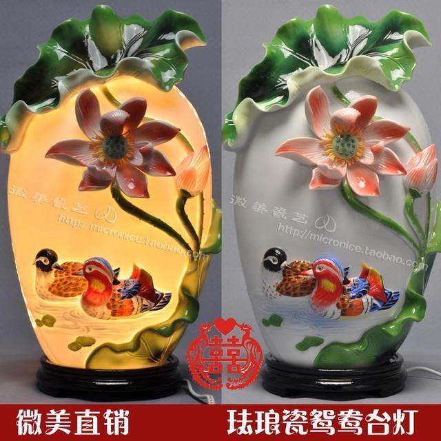 Lampe à eau en porcelaine émail   Ornements dameublement de maison, cadeaux de mariage, cadeau danniversaire de mariage en céramique chinoise