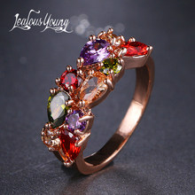 Classic Multicolor Water Drop Cubic Zircon Engagement Ring Rose Gold Color Mona Lise Bague Female Jewelry AR017(China)