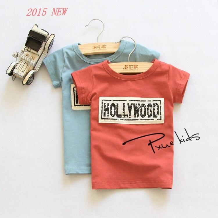 2015 été nouvelle Hollywood style 1 pcs coréenne coton tendance épissage enfants t-shirts enfants garçons vêtements / t chemises pour filles