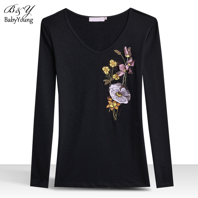 2016 Spring Women'S T Shirt Camisetas Long Sleeve T-Shirt Slim V-Neck Embroidered Camellia Ropa Mujer Women Tops Plus size