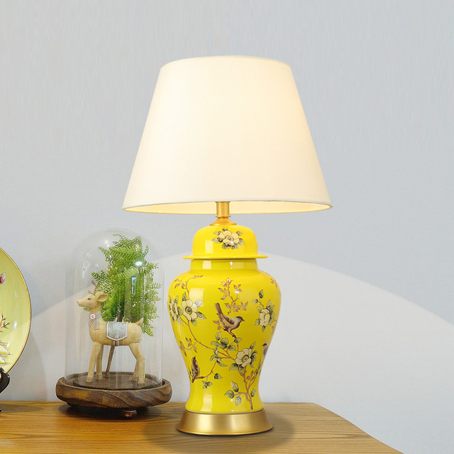American gold ceramic table lamp luxury fabric of modern table lamps ...