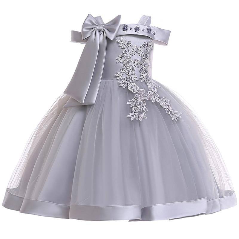 Новинка; стильное платье на бретельках с одним персонажем для свадебной вечеринки для девочек; бальное платье с бантом и жемчужинами и цветами для банкета; vestidos - Цвет: gray