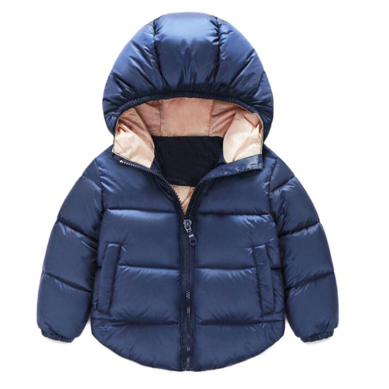 Маленьких Обувь для девочек пальто для мальчиков зимняя теплая куртка с капюшоном пальто хлопка с длинным рукавом карманы на молнии Верхня...