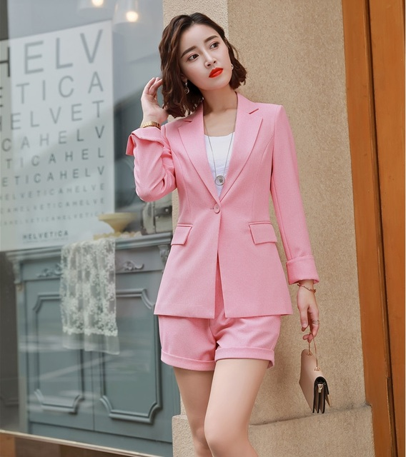 4b99a660d3f8 New 2019 Fashion Ladies Pink Blazer Women Business Suits Shorts and Jacket  Sets Work Wear Clothes OL Styles
