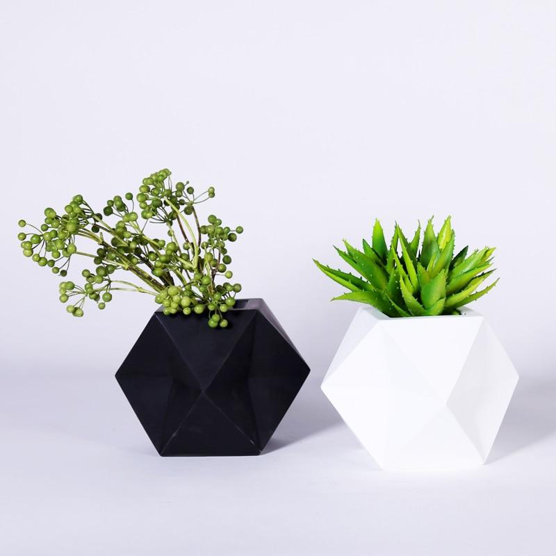 White Black Modern Irregular Tabletop Resin Flower Planter