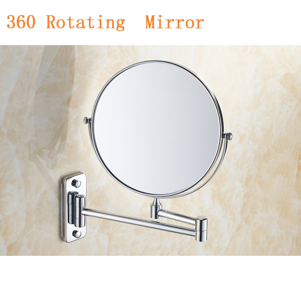 New 8 Inch Magnification Wall Mounted Adjustable Makeup Mirror Dual Arm Extend 2-Face Bathroom Shave Make up Mirror 360 Rotating new fashion 6 inches led bathroom mirror dual arm extend 2 face metal makeup mirror 5x magnifying wall mounted extending folding