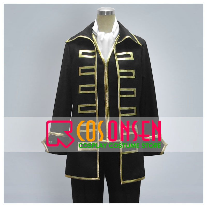 COSPLAYONSEN Gintama Sougo Okita Cosplay Costume Full Set With Eye Mask All Size