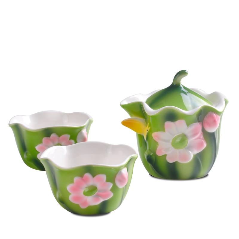 Цветная эмалированная фарфоровая чашка с изображением лотоса, легкая чашка кунг-фу, чайный набор, портативный чайный набор для путешествий,...