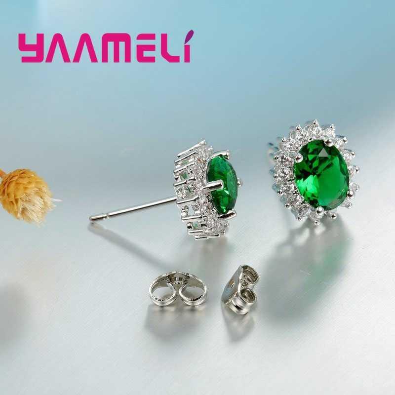 ... Top Quality 925 Sterling Silver Stud Earrings Oval Cubic Zircon Crystal  Jewelry for OL Women Fine ...