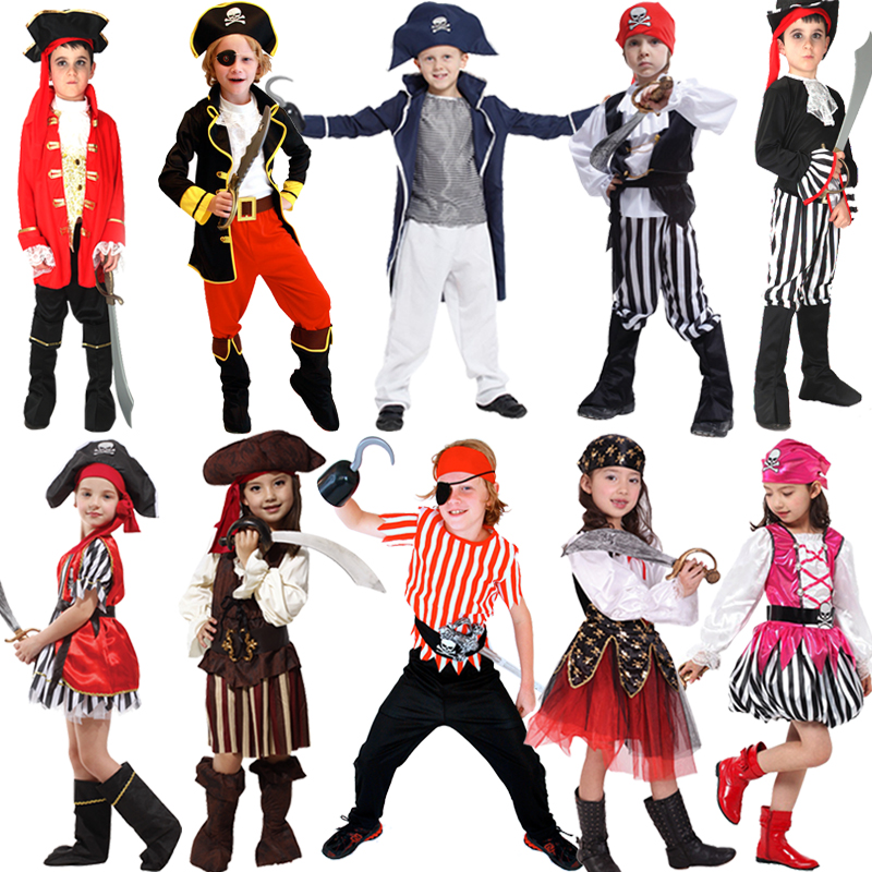Elsa Dress Halloween Pirate Dress Pirates Of The Caribbean Cosplay Boys Girls Children Up Costume Hat Retail For 4-12t Kids kids boys pilot costume cosplay halloween set for children fantasia disfraces game uniforms boys military air force jumpsuit