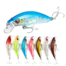 купить 7Pcs/lot 11.4g 70mm Colorful Stripe Minnow Wobblers Fishing Bait Lures With 2 Hooks For Sea Hard Baits Fishing Tackle Crank Lure дешево