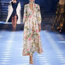 SONDR 2019 new floral long dress for women fashion v-neck tie lantern long sleeve high waist dress for women